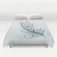 Peacock Feather Duvet Cover by LouJah