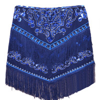 Blue Sequin and Bead Embellished Tassels Pencil Skirt