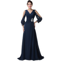 Floor Length Long Sleeve Formal Evening dress Mother of the Bride dresses Women Long Prom Party Gown CL62