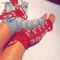 Women's Over Knee Socks High Tube Knitted Stockings Thigh High Long Cotton Stockings For Girls Ladies Christmas Elk Party SW084