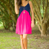 Point Of View Dress, Fuchsia-Navy