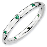 Created Emerald Stackable Ring