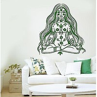 Meditation Wall Decal Buddha Chakra Meditation Girl Woman Vinyl Sticker Unique Gift (z2874)
