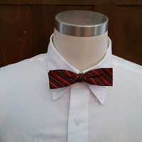 Vintage Maroon Black Stripe Grip Tite Clip On Bow Tie