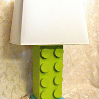 Lego Style Lamp  Your Color Choice Table Lamp by HappywoodGoods