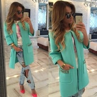 Casual Beaded Front Pocket Open Front Coat