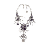 handmade wire one of a kind necklace with natural stones- Antique Silver/purple