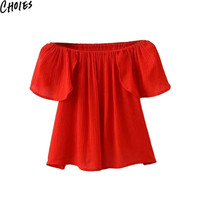 Women 3 Colors Off Shoulder Ruffle Sleeve Wrap Back Casual Blouses Sexy Tops 2016 New Summer Fashion Slash Neck Brief Clothing