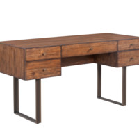 BRADY RUSTIC SMOKED BROWN WOOD BASE WITH BRONZE STEEL LEGS DESK