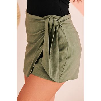 Wished For This Woven Skort (Olive)