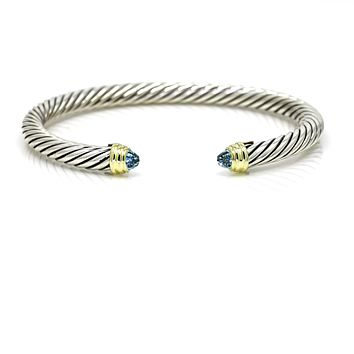 David Yurman Cable Classic Bracelet with Blue Topaz and 14K Yellow Gold