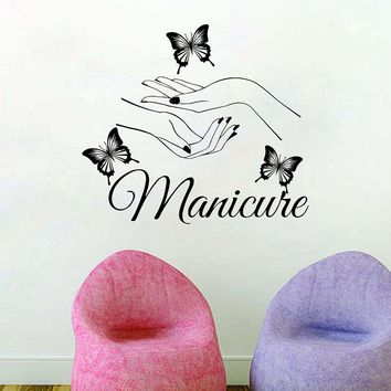 Beauty Nail Salon Vinyl Wall Sticker Art Manicure Wall Decals butterfly hands Nail Shop Wall Window Art Decoration