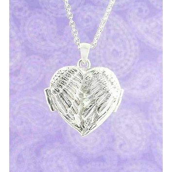 Bright Angel Wings Heart-Shaped Locket Pendant