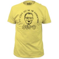 Devo Vintage T-shirt - I Can't Get Me No Satisfaction Song Lyric with Booji Boy. Men's Yellow Shirt