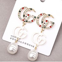 GUCCI New fashion pearl letter diamond long earring women