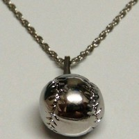 Silver Softball Chain Necklace (Brand New)