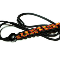 Mens Lanyard Fire Red and Black 550 Paracord Survival Military Grade Cord Breakaway Clasp Handmade USA For ID Badge