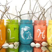 ALOHA -- Mason Jar Vase Set -- Hand Painted Jars | Rustic - Style, Home and Party Decor -- Tabletop Centerpiece