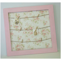 Mary Rose Pink Floral Shabby Chic Clothes Pin Board
