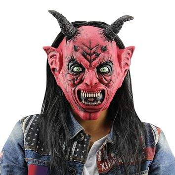Masquerade Devil Satanism Latex Halloween Mask with Wig Ox Horn
