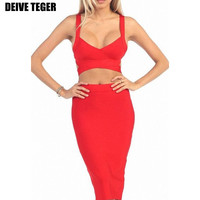 Solid Two Piece Set Spaghetti Strap Bandage Knee-Length Dress 5 Colors HL1050-1
