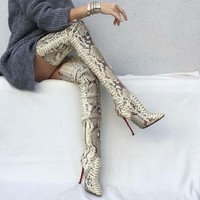 *online exclusive* snakeskin over the knee boots