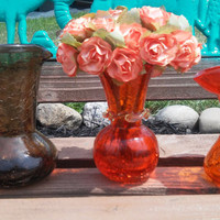 3PCS Crackle Blown and Stretched Glass Pitchers and Vase Amberlina