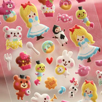 Alice in wonderland sticker fairytale princess puffy sticker cute cartoon girl kawaii animal deco special mail handmade gift card scrapbook