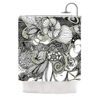 "Anchobee ""Doodle Dos"" Gray Green Shower Curtain"