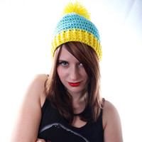 Crochet Blue and Yellow Poof Ball Winter Hat Medium