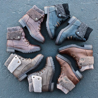 leather knit sweater cuff ankle boots (4 colors)