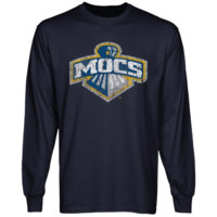 Tennessee Chattanooga Mocs Distressed Primary Long Sleeve T-Shirt - Navy Blue