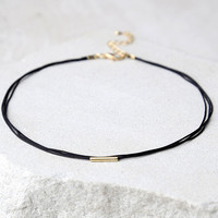 First Love Black and Gold Choker Necklace