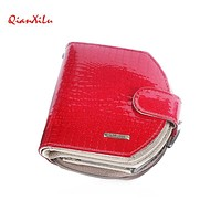 Short Female Women Genuine Leather Wallet Fashion Dollar Price Card Holder Lady Female Cute Wallets Solid Color Small Purse