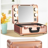 Portable Make Up Artist Suitcase LED Lighted Travel Cosmetic Storage Case
