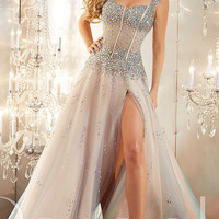 Sheer Corset Style Long Prom Dress by Panoply