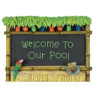 """RAM Gameroom """"Welcome To Our Pool"""" Tiki Bar Sign - ODR295 - All Wall Art - Wall Art & Coverings - Decor"""