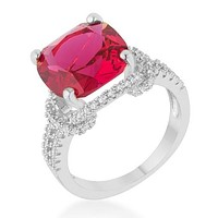 Charlene Ruby Red Classic Statement Cocktail Ring | 8ct