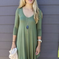 Never Let Go Olive V-Neck Quarter Sleeve Dress
