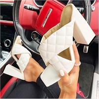 2020 new women's square toe plaid thick heel cross sandals and slippers high heels shoes