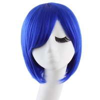 MapofBeauty Women's Short Straight Cosplay Party Wig BOB Wig (Navy Blue)
