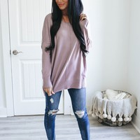Tender Moments Sweater - Dusty Lavender