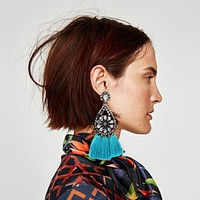 Ztech Mediterranean Style Trendy Statement Earrings Cotton Boho Tassel Earring Women Fashion Jewelry Fringing Earrings