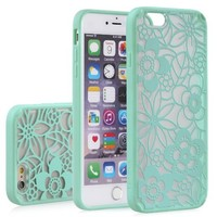 """iPhone 6 Case - VENA [TACT ARMOR] Shock Absorbent Cover Slim Hybrid Armor Case for Apple iPhone 6 (4.7"""") - Flora / Teal"""