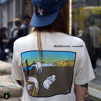 Hidden Middle Finger in Pocket Cat Appliques Printed Casual Party Holiday Women Short Sleeve Shirt Top T-shirt _ 5030