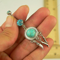 Dream Catcher belly button ring silver turquonise bead silver turquoise belly button jewelry bellybutton ring - gift for woman