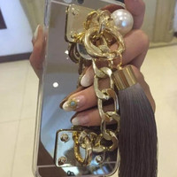 Mirror tassel iphone case phone