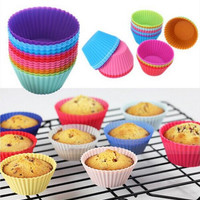 Bestselling 12 pcs Silicone Cake Cupcake Liner Baking Cup Mold  Muffin Round Cup Cake Tool Bakeware Baking Pastry Tools Kitchen