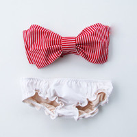 Vintage Bow Bandeau Sunsuit Bikini style. DiVa Halter Neck. Red and White Stripe Halter Neck top White Panties. Sexy and cute.