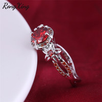 RongXing Shining Flower Jewelry Red Zircon Rings For Women Birthday Gift Vintage White Gold Filled July Birthstone Ring RW1811